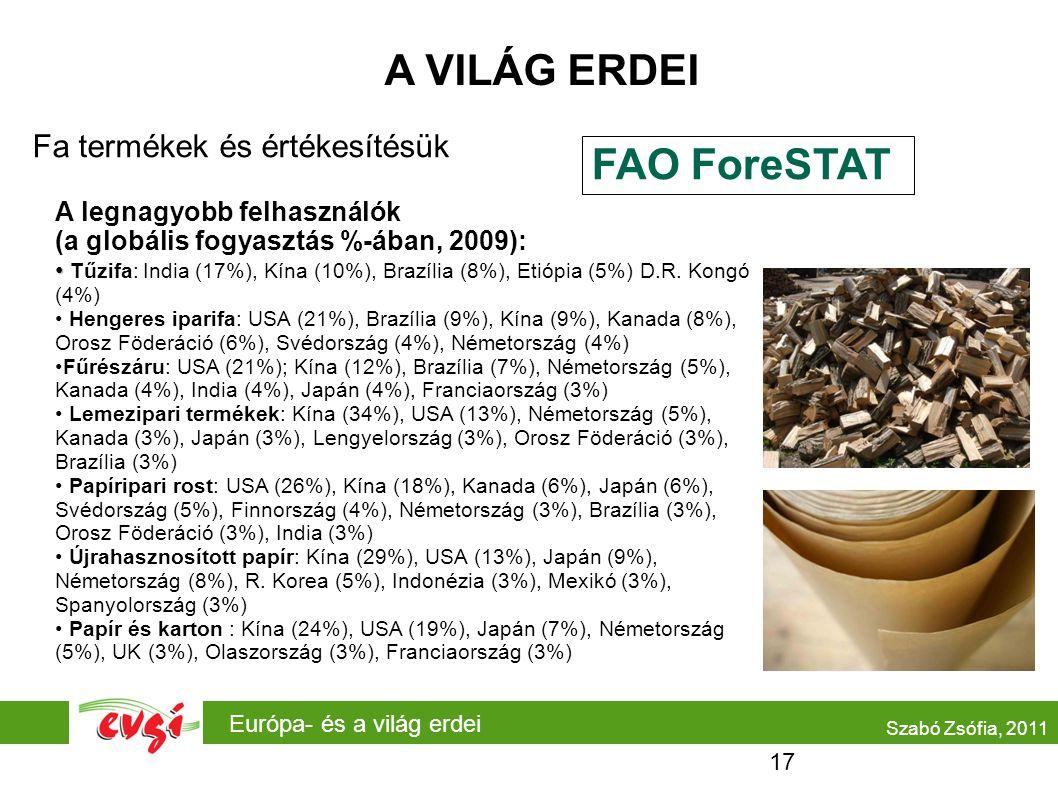 A VILÁG ERDEI FAO ForeSTAT Fa termékek és értékesítésük