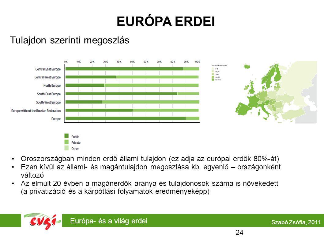 EURÓPA ERDEI Tulajdon szerinti megoszlás