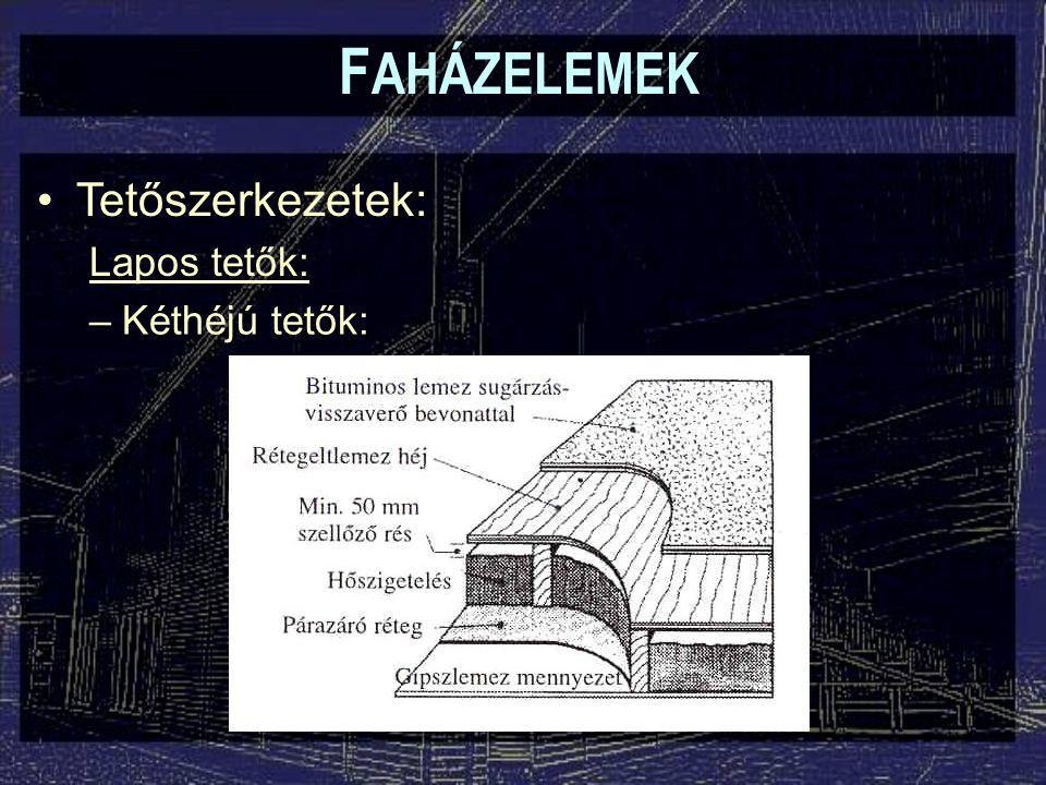 FAHÁZELEMEK Tetőszerkezetek: Lapos tetők: Kéthéjú tetők: