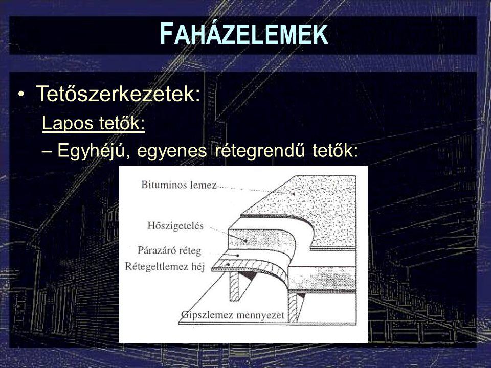 FAHÁZELEMEK Tetőszerkezetek: Lapos tetők:
