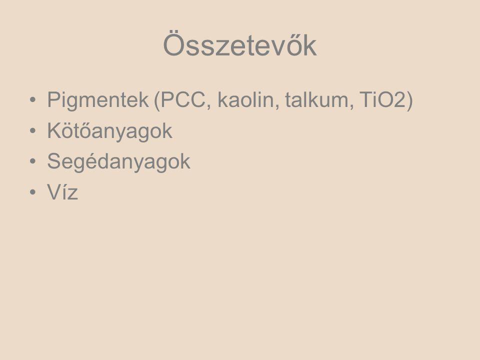 Összetevők Pigmentek (PCC, kaolin, talkum, TiO2) Kötőanyagok