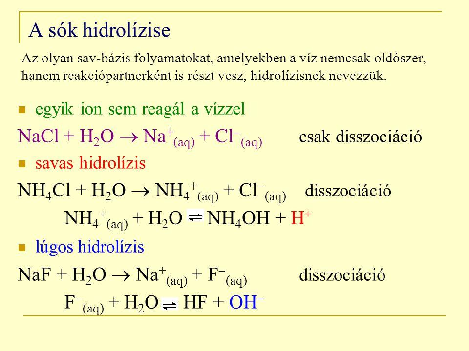 A sók hidrolízise NaCl + H2O  Na+(aq) + Cl(aq) csak disszociáció