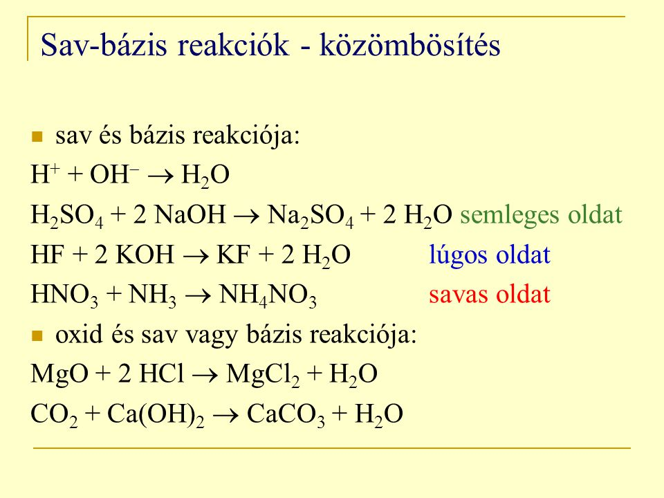 Sav-bázis reakciók - közömbösítés