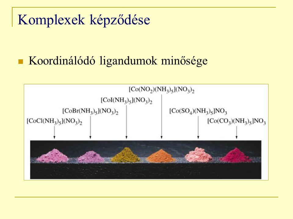 Komplexek képződése Koordinálódó ligandumok minősége