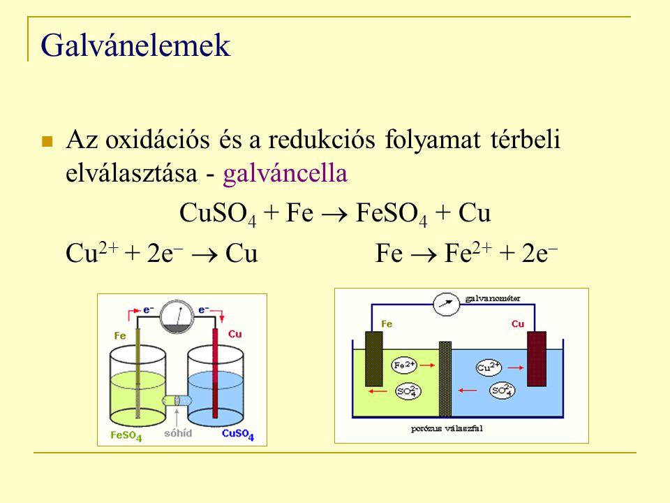 Galvánelemek Az oxidációs és a redukciós folyamat térbeli elválasztása - galváncella. CuSO4 + Fe  FeSO4 + Cu.