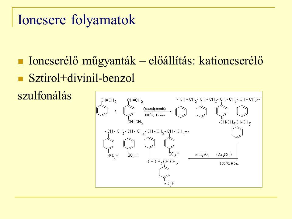 Ioncsere folyamatok Ioncserélő műgyanták – előállítás: kationcserélő