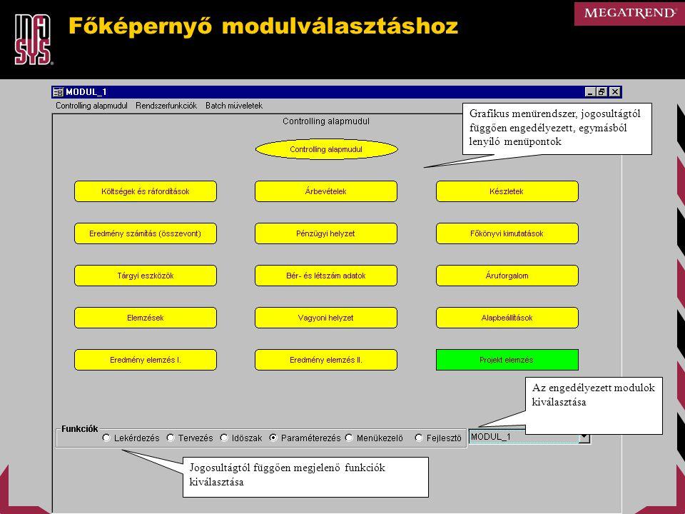 Főképernyő modulválasztáshoz