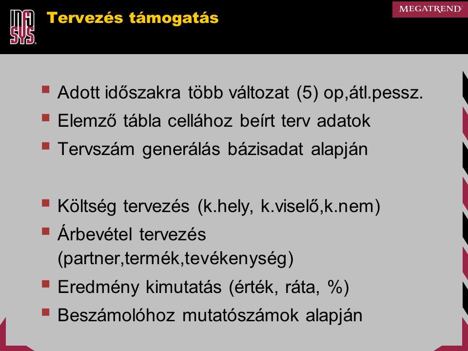 Adott időszakra több változat (5) op,átl.pessz.