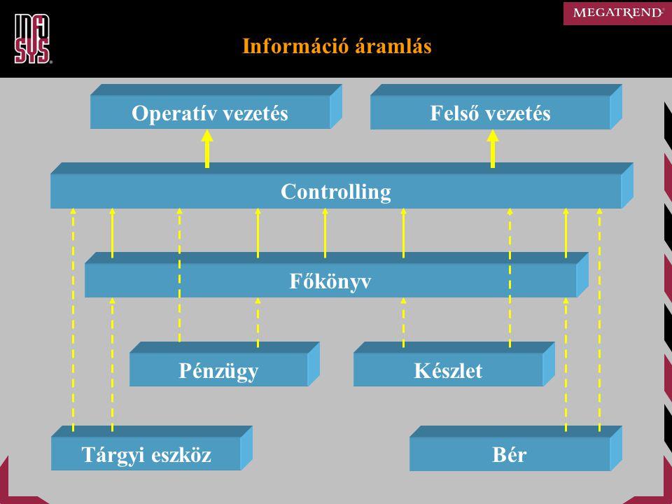 Információ áramlás Operatív vezetés. Felső vezetés. Controlling. Főkönyv. Pénzügy. Készlet. Tárgyi eszköz.