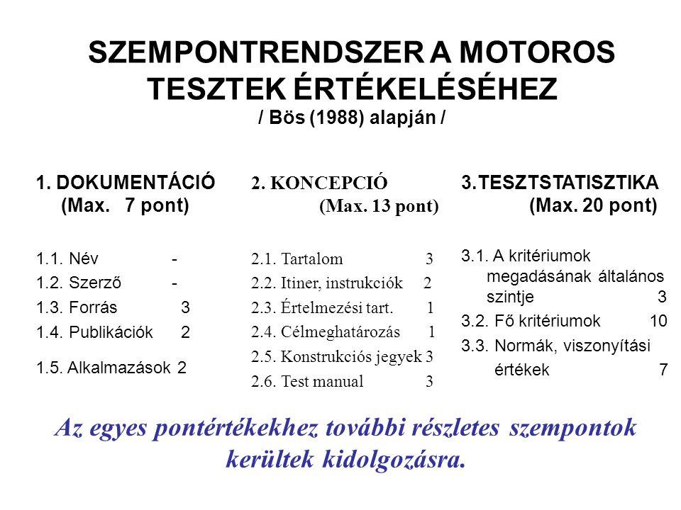 SZEMPONTRENDSZER A MOTOROS TESZTEK ÉRTÉKELÉSÉHEZ / Bös (1988) alapján /