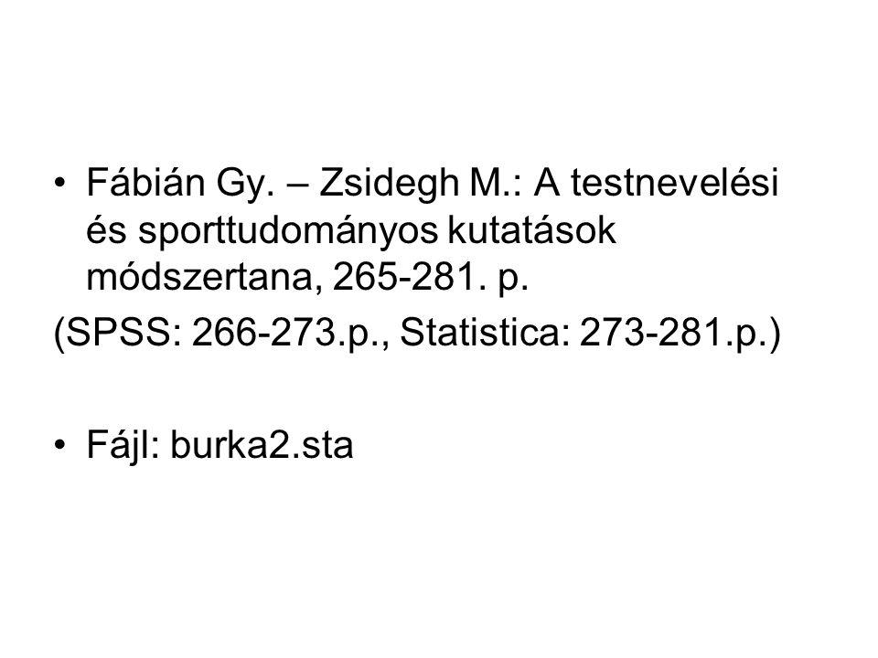 Fábián Gy. – Zsidegh M.: A testnevelési és sporttudományos kutatások módszertana, 265-281. p.