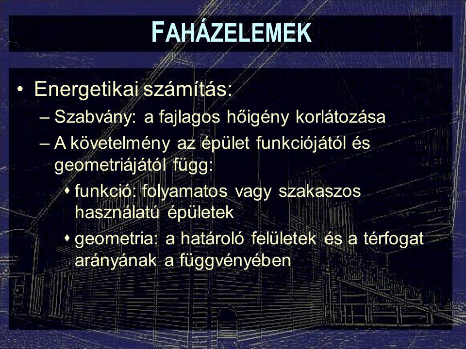 FAHÁZELEMEK Energetikai számítás: