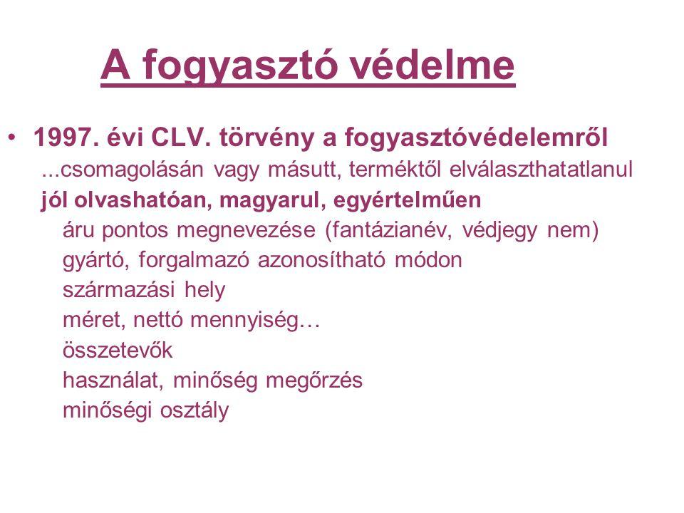 A fogyasztó védelme 1997. évi CLV. törvény a fogyasztóvédelemről