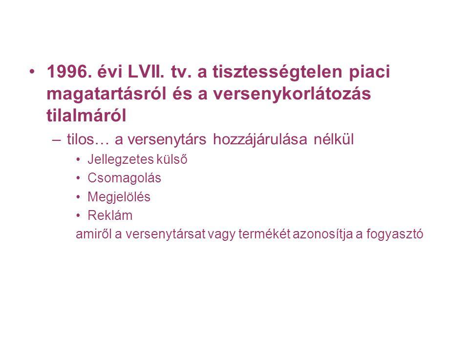 1996. évi LVII. tv. a tisztességtelen piaci magatartásról és a versenykorlátozás tilalmáról