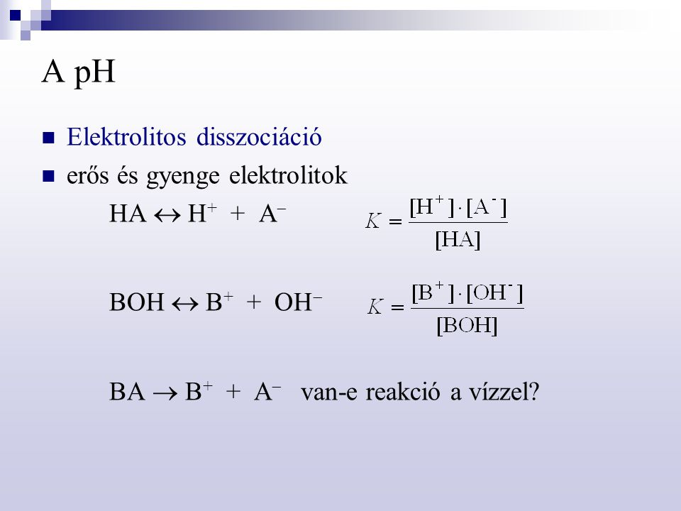 A pH Elektrolitos disszociáció erős és gyenge elektrolitok