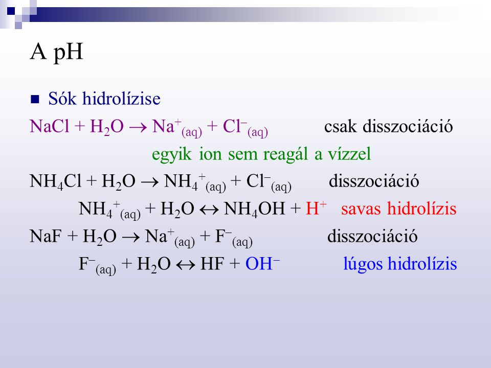 A pH Sók hidrolízise NaCl + H2O  Na+(aq) + Cl(aq) csak disszociáció