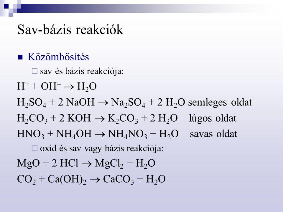 Sav-bázis reakciók Közömbösítés H+ + OH  H2O