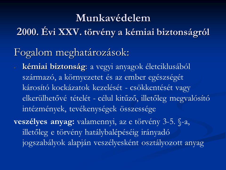 Munkavédelem 2000. Évi XXV. törvény a kémiai biztonságról