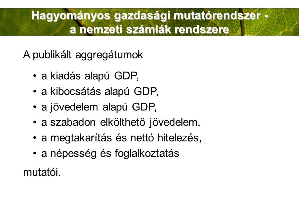 Hagyományos gazdasági mutatórendszer - a nemzeti számlák rendszere