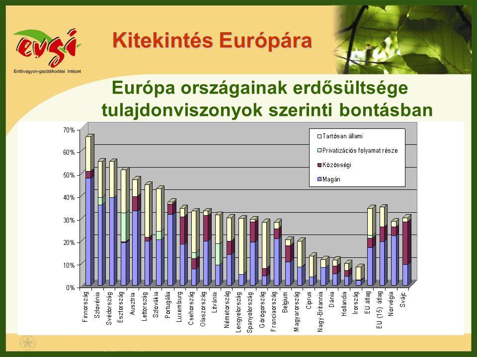 Európa országainak erdősültsége tulajdonviszonyok szerinti bontásban