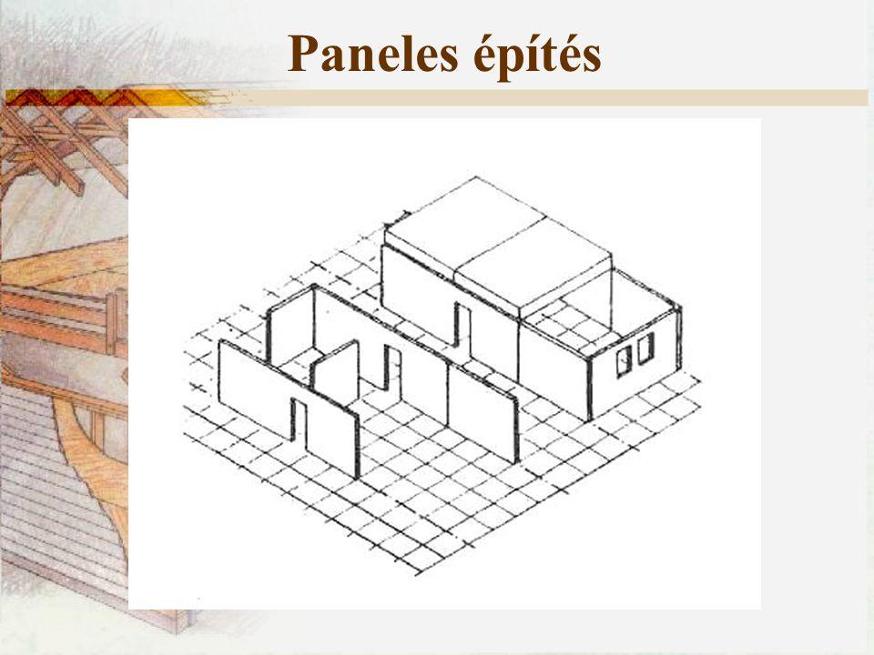 Paneles építés Minden ház esetében két fő igénybevétellel számolhatunk: Függőleges igénybevételek: önsúly, külső terhek (hó), hasznos terhek.