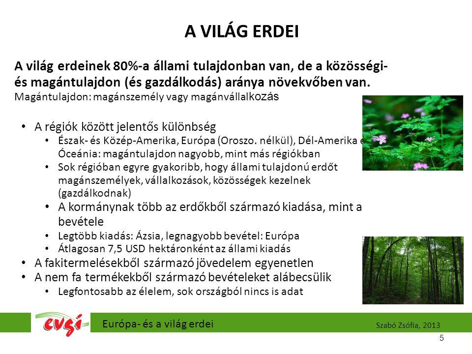 A VILÁG ERDEI A világ erdeinek 80%-a állami tulajdonban van, de a közösségi- és magántulajdon (és gazdálkodás) aránya növekvőben van.