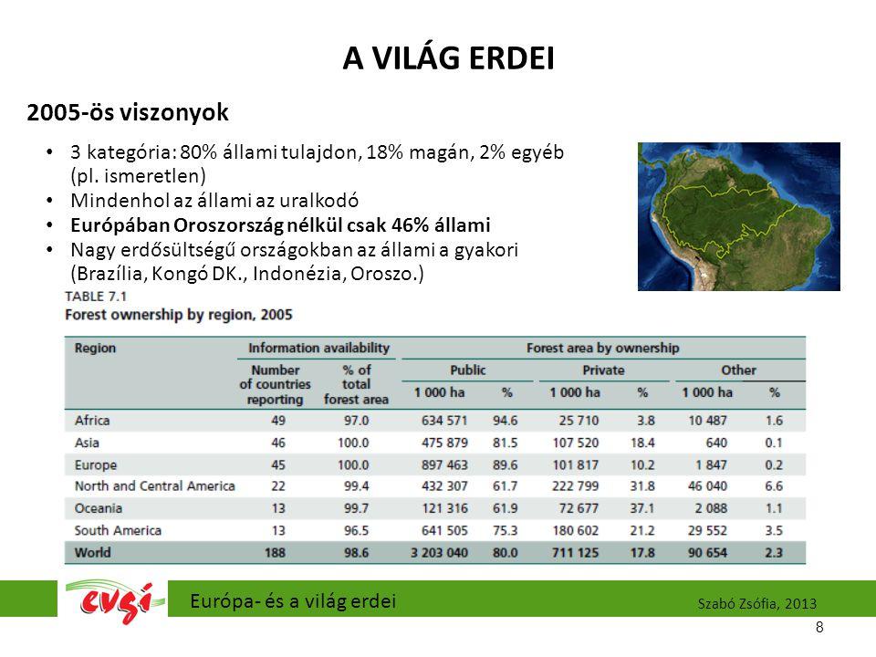 A VILÁG ERDEI 2005-ös viszonyok