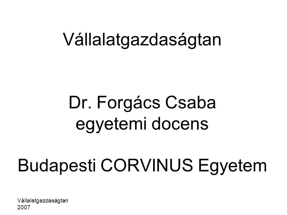 Vállalatgazdaságtan Dr