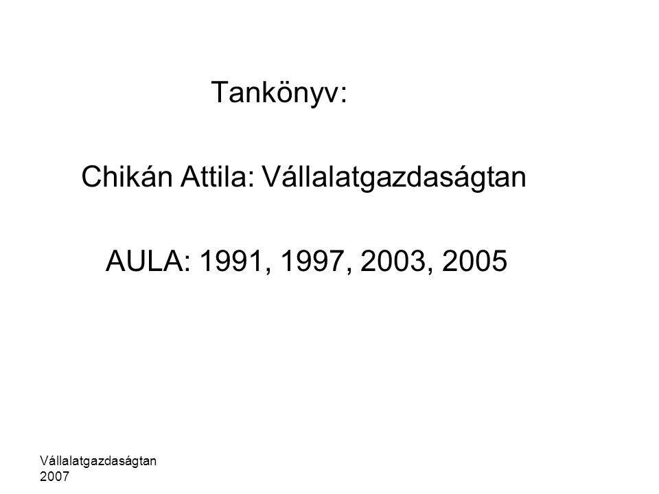 Chikán Attila: Vállalatgazdaságtan AULA: 1991, 1997, 2003, 2005