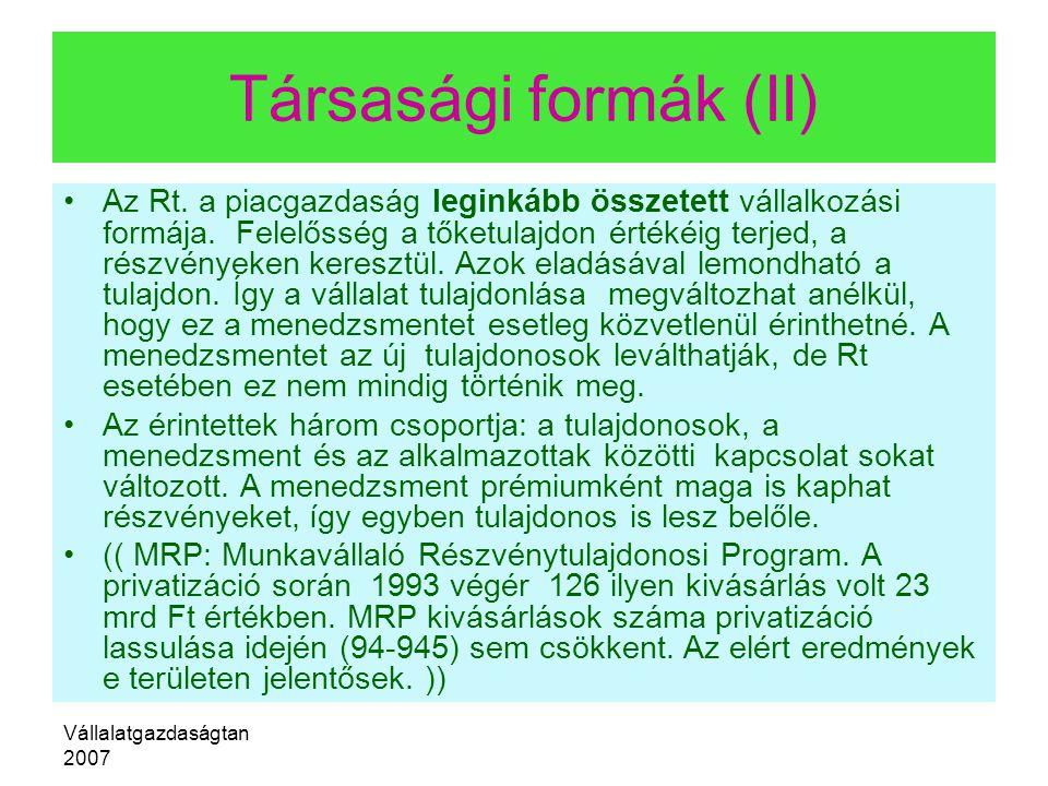 Társasági formák (II)