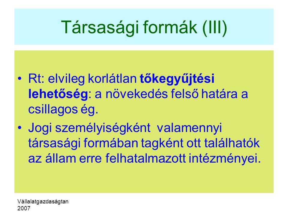 Társasági formák (III)
