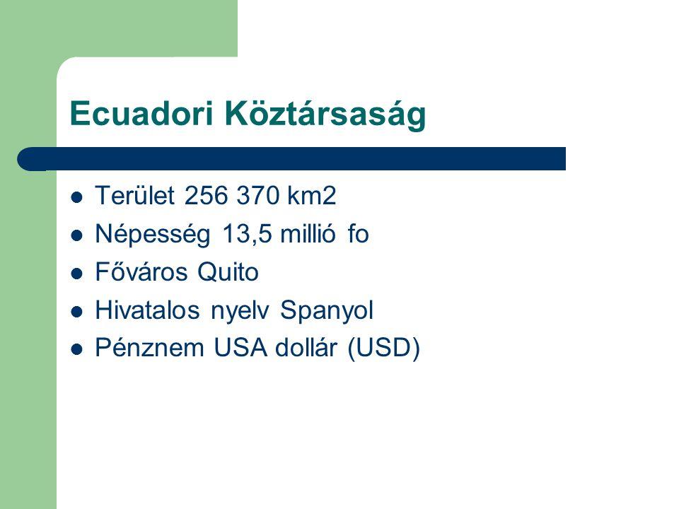 Ecuadori Köztársaság Terület 256 370 km2 Népesség 13,5 millió fo