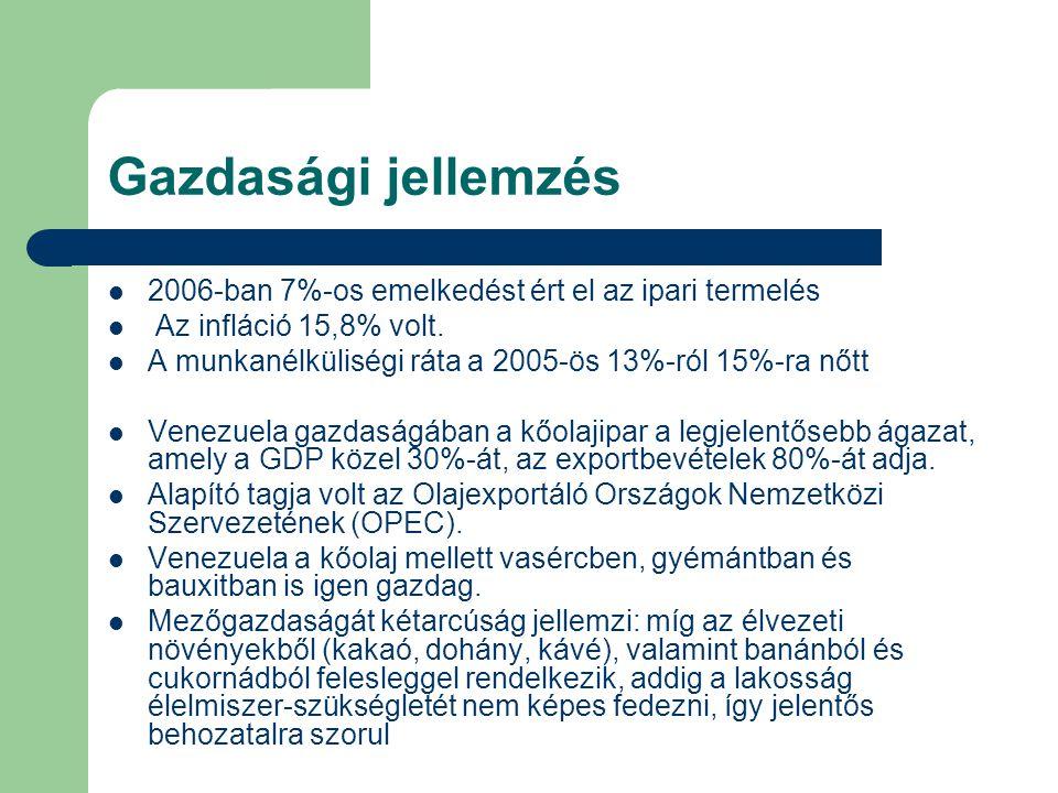 Gazdasági jellemzés 2006-ban 7%-os emelkedést ért el az ipari termelés