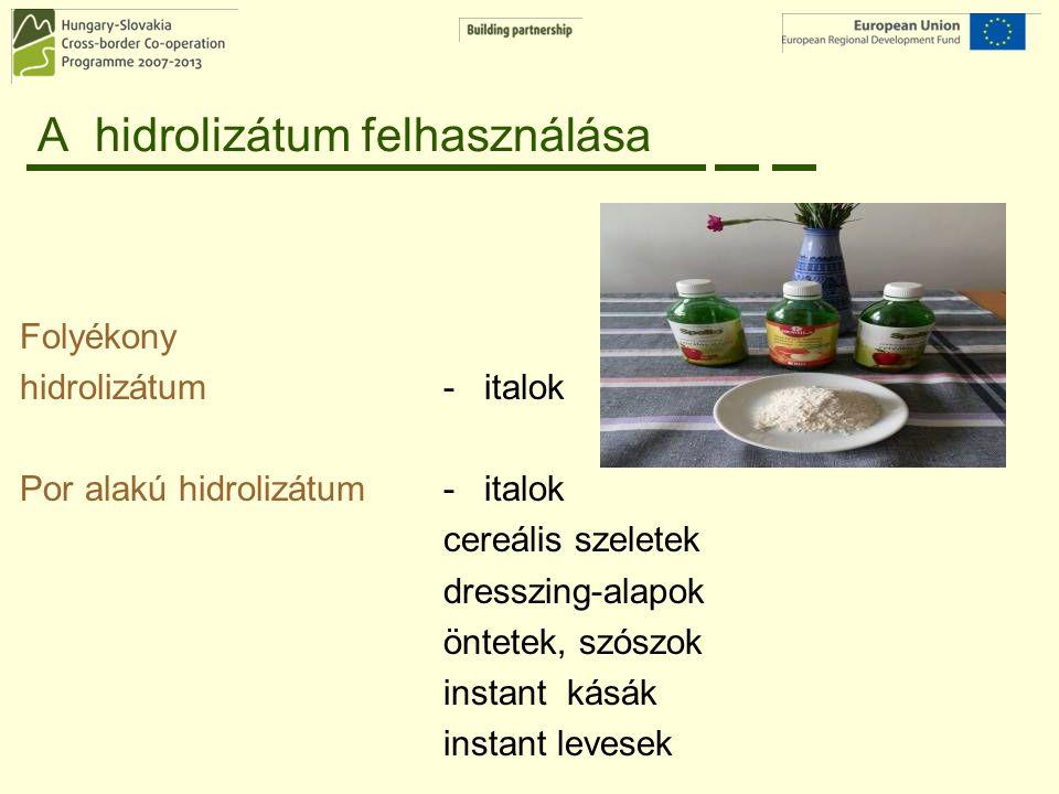 A hidrolizátum felhasználása