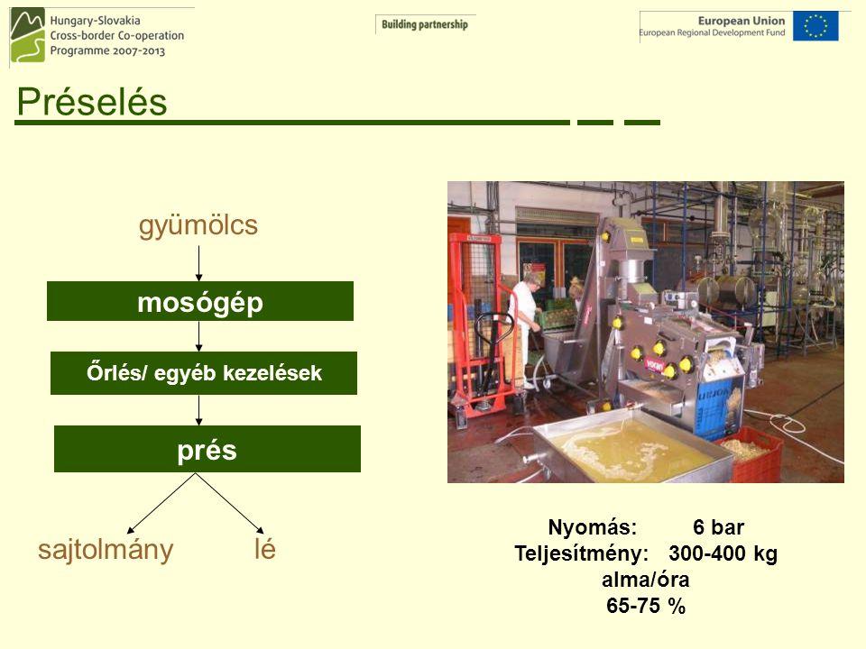 Őrlés/ egyéb kezelések Teljesítmény: 300-400 kg alma/óra