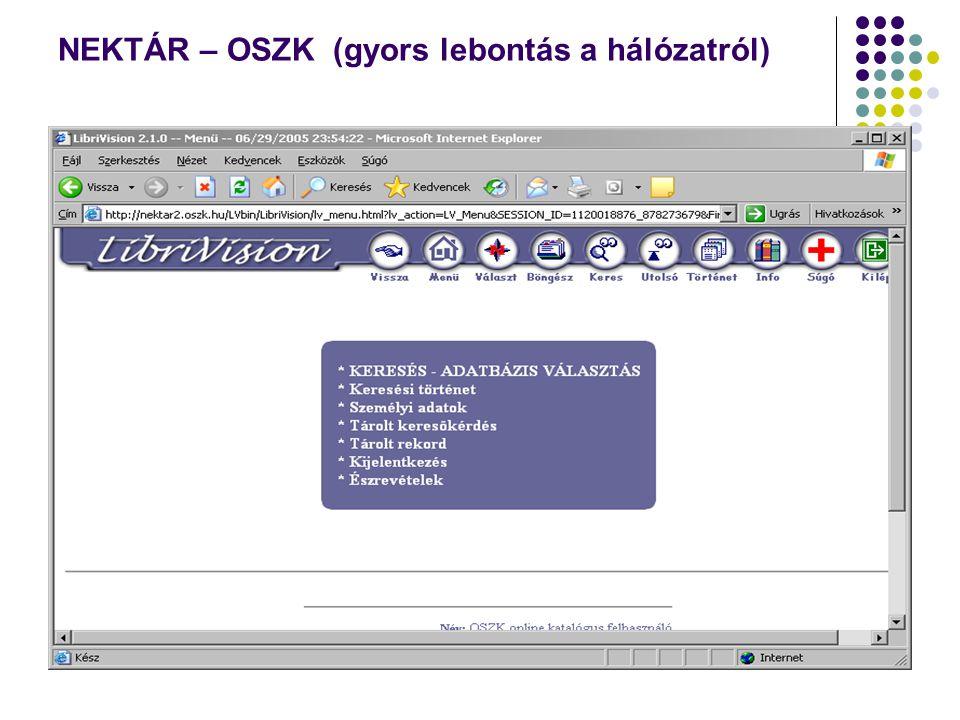 NEKTÁR – OSZK (gyors lebontás a hálózatról)