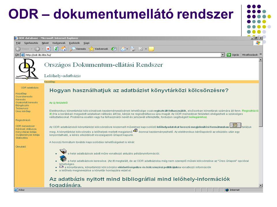 ODR – dokumentumellátó rendszer