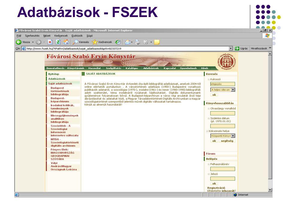 Adatbázisok - FSZEK