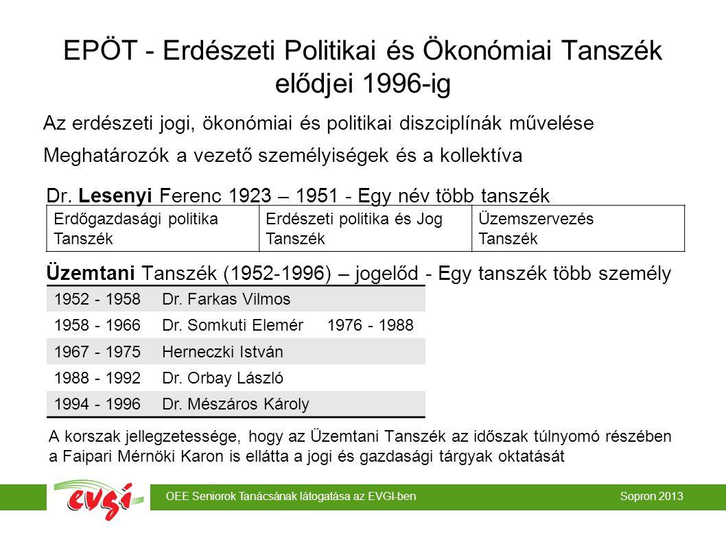 EPÖT - Erdészeti Politikai és Ökonómiai Tanszék elődjei 1996-ig