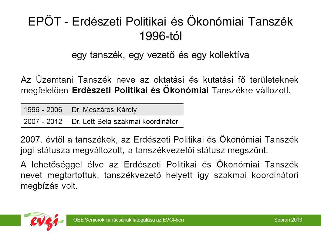 EPÖT - Erdészeti Politikai és Ökonómiai Tanszék 1996-tól