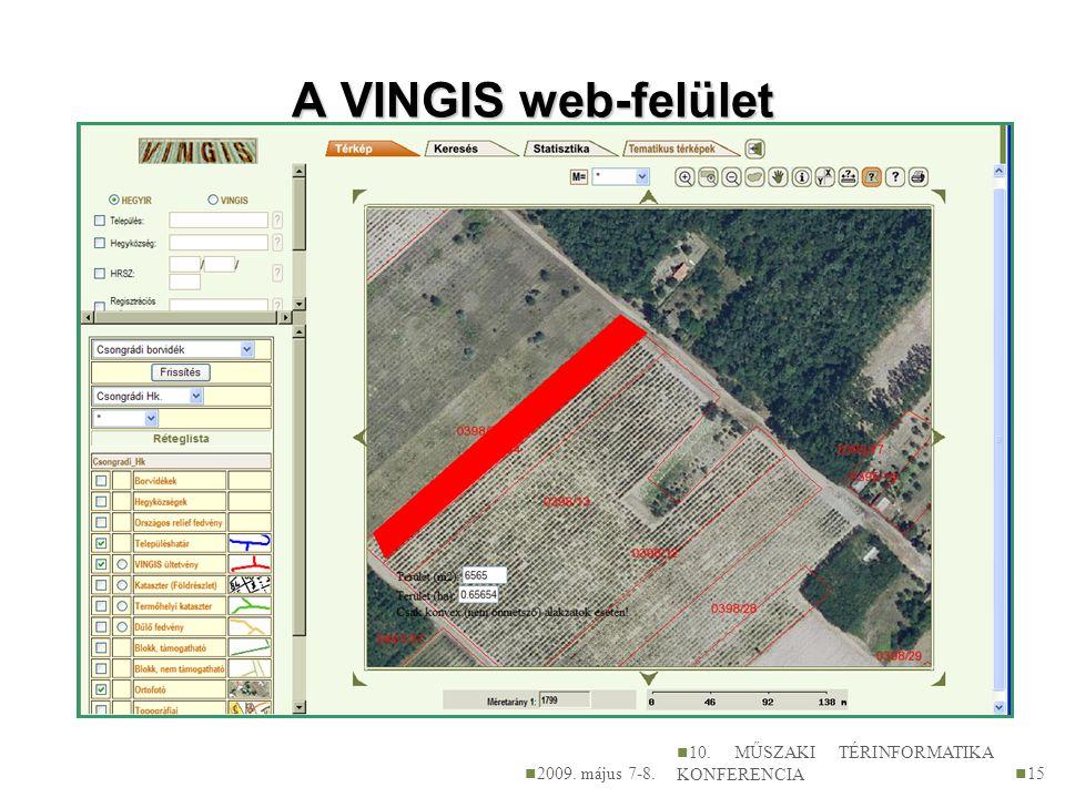 A VINGIS web-felület 2009. május 7-8.