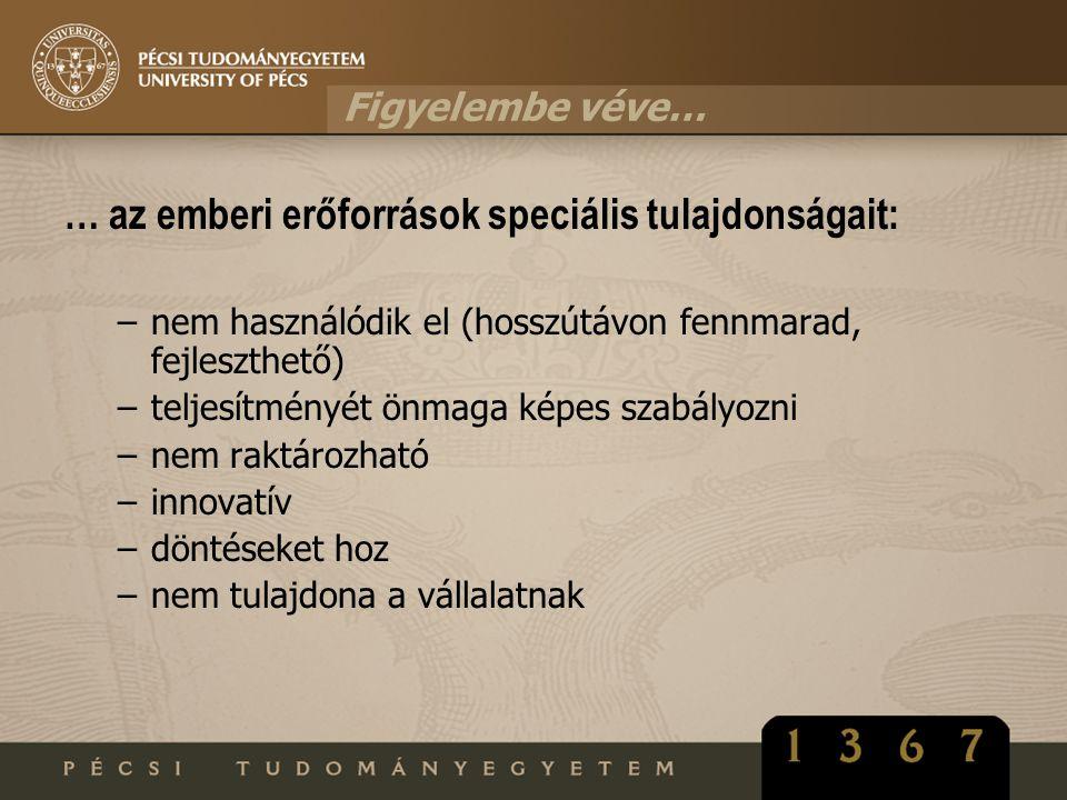 … az emberi erőforrások speciális tulajdonságait: