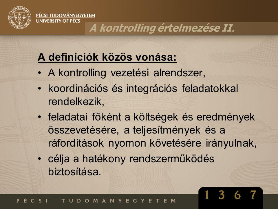 A kontrolling értelmezése II.