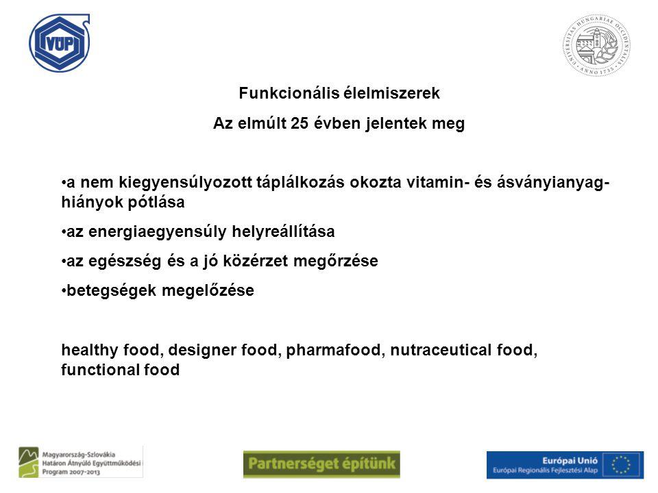 Funkcionális élelmiszerek Az elmúlt 25 évben jelentek meg