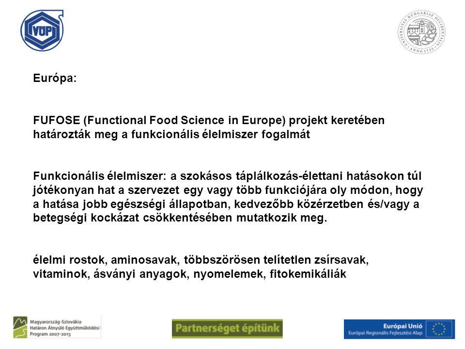 Európa: FUFOSE (Functional Food Science in Europe) projekt keretében határozták meg a funkcionális élelmiszer fogalmát.