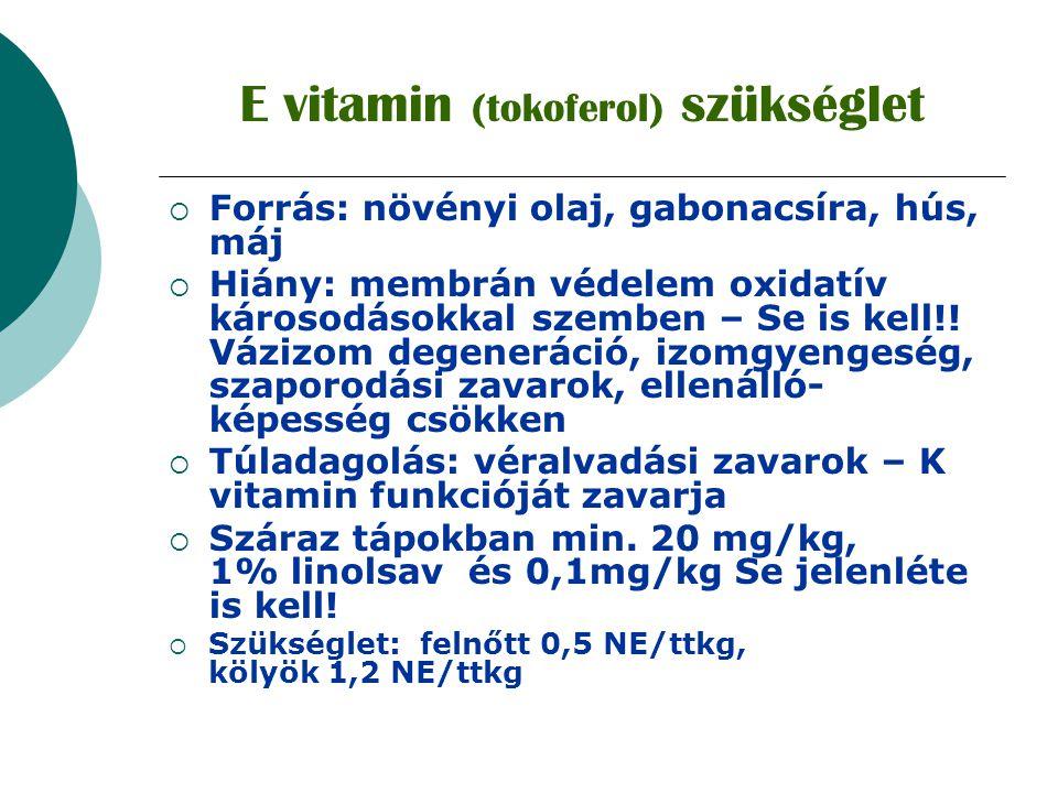 E vitamin (tokoferol) szükséglet