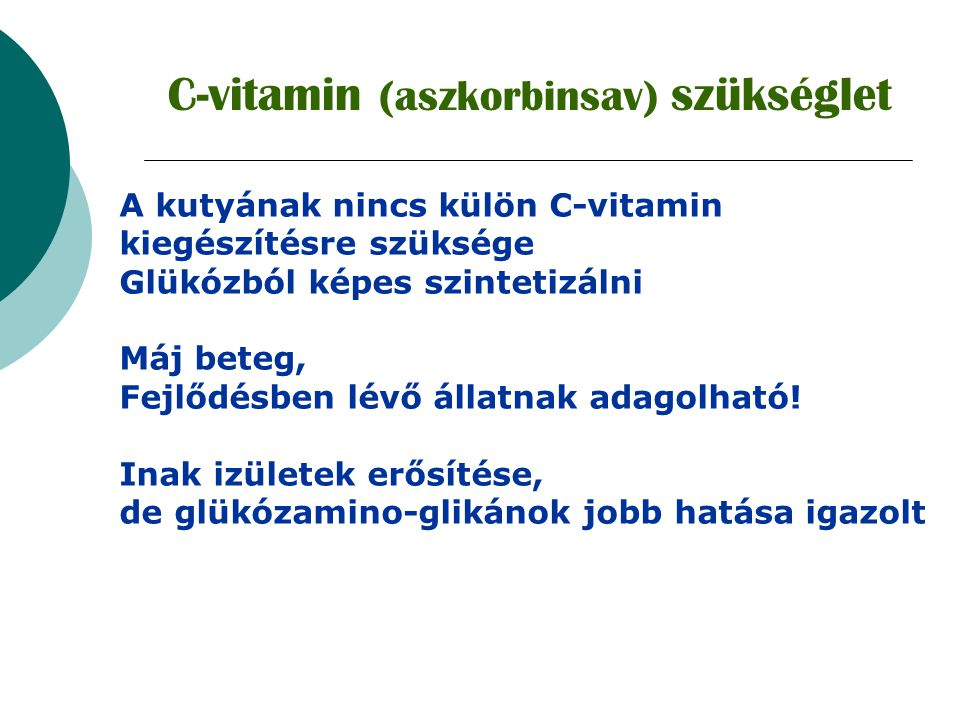 C-vitamin (aszkorbinsav) szükséglet