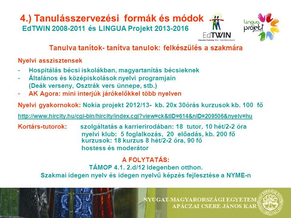 4.) Tanulásszervezési formák és módok EdTWIN 2008-2011 és LINGUA Projekt 2013-2016