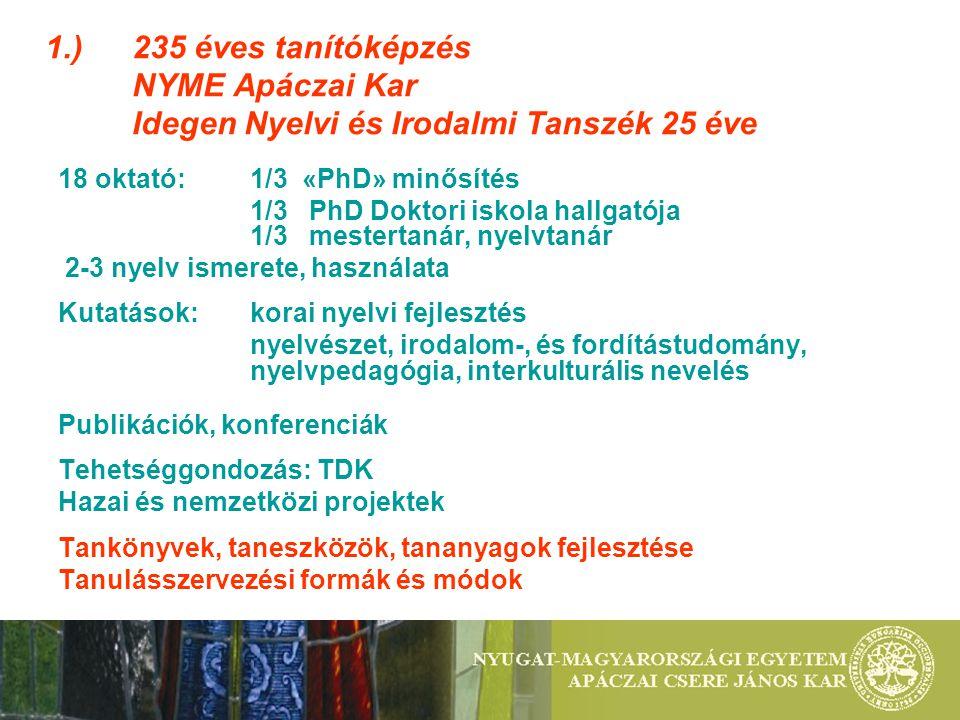1. ). 235 éves tanítóképzés. NYME Apáczai Kar
