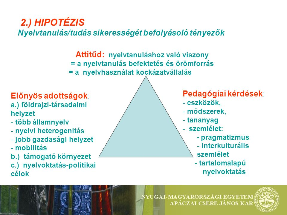 2.) HIPOTÉZIS Nyelvtanulás/tudás sikerességét befolyásoló tényezők